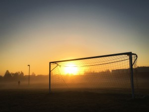 I was walking my dog through the soccer field early Sunday morning. The sun had just risen and was starting to burn off the fog. I took this with my iPhone 6S.
